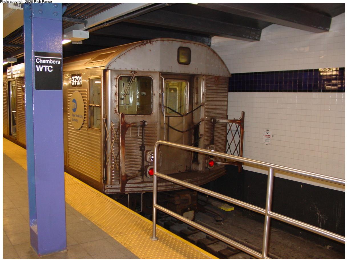 (78k, 820x620)<br><b>Country:</b> United States<br><b>City:</b> New York<br><b>System:</b> New York City Transit<br><b>Line:</b> IND 8th Avenue Line<br><b>Location:</b> Chambers Street/World Trade Center <br><b>Car:</b> R-32 (Budd, 1964)  3721 <br><b>Photo by:</b> Richard Panse<br><b>Date:</b> 2/9/2002<br><b>Viewed (this week/total):</b> 3 / 5500