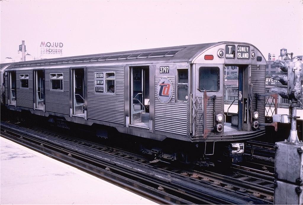 (221k, 1024x693)<br><b>Country:</b> United States<br><b>City:</b> New York<br><b>System:</b> New York City Transit<br><b>Line:</b> BMT Astoria Line<br><b>Location:</b> 39th/Beebe Aves. <br><b>Car:</b> R-32 (Budd, 1964)  3797 <br><b>Collection of:</b> Joe Testagrose<br><b>Date:</b> 8/30/1967<br><b>Viewed (this week/total):</b> 2 / 4918