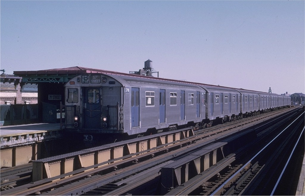 (165k, 1024x656)<br><b>Country:</b> United States<br><b>City:</b> New York<br><b>System:</b> New York City Transit<br><b>Line:</b> BMT West End Line<br><b>Location:</b> 71st Street <br><b>Route:</b> B<br><b>Car:</b> R-32 (Budd, 1964)  3798 <br><b>Photo by:</b> Joe Testagrose<br><b>Date:</b> 8/21/1969<br><b>Viewed (this week/total):</b> 3 / 3869