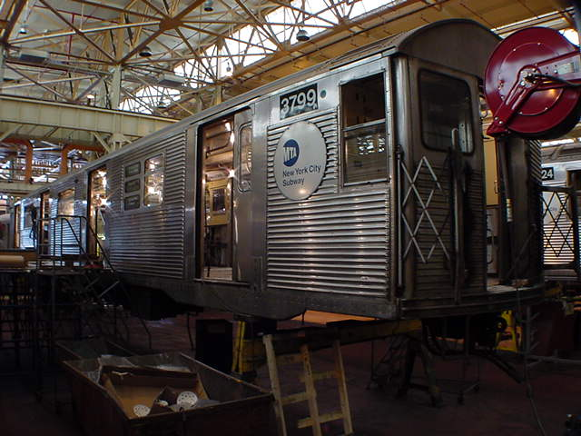 (59k, 640x480)<br><b>Country:</b> United States<br><b>City:</b> New York<br><b>System:</b> New York City Transit<br><b>Location:</b> Coney Island Shop/Overhaul & Repair Shop<br><b>Car:</b> R-32 (Budd, 1964)  3799 <br><b>Photo by:</b> Salaam Allah<br><b>Date:</b> 10/29/2000<br><b>Viewed (this week/total):</b> 0 / 3603