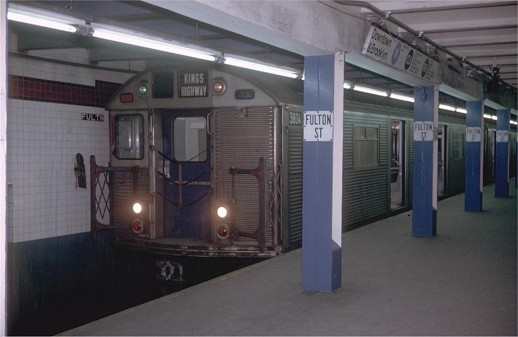(175k, 1024x667)<br><b>Country:</b> United States<br><b>City:</b> New York<br><b>System:</b> New York City Transit<br><b>Line:</b> BMT Nassau Street/Jamaica Line<br><b>Location:</b> Fulton Street <br><b>Route:</b> QJ<br><b>Car:</b> R-32 (Budd, 1964)  3804 <br><b>Photo by:</b> Doug Grotjahn<br><b>Collection of:</b> Joe Testagrose<br><b>Date:</b> 2/12/1971<br><b>Viewed (this week/total):</b> 1 / 7194