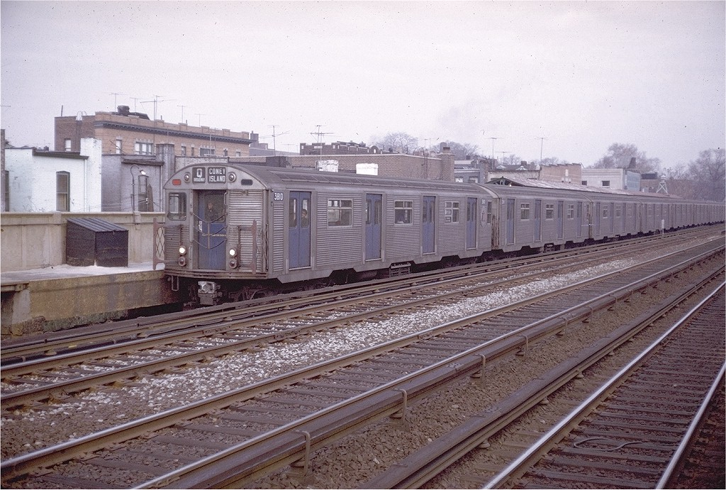 (250k, 1024x691)<br><b>Country:</b> United States<br><b>City:</b> New York<br><b>System:</b> New York City Transit<br><b>Line:</b> BMT Brighton Line<br><b>Location:</b> Avenue J <br><b>Route:</b> QJ<br><b>Car:</b> R-32 (Budd, 1964)  3810 <br><b>Photo by:</b> Doug Grotjahn<br><b>Collection of:</b> Joe Testagrose<br><b>Date:</b> 11/25/1969<br><b>Viewed (this week/total):</b> 0 / 3641