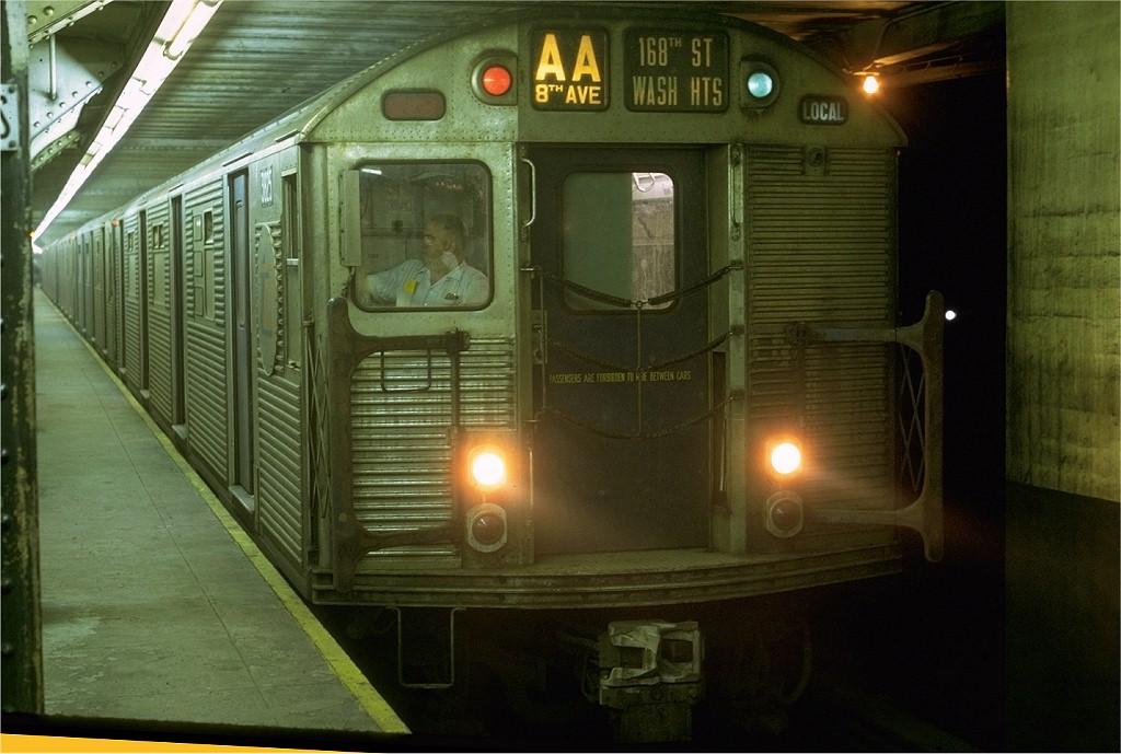 (173k, 1024x689)<br><b>Country:</b> United States<br><b>City:</b> New York<br><b>System:</b> New York City Transit<br><b>Line:</b> IND 8th Avenue Line<br><b>Location:</b> Chambers Street/World Trade Center <br><b>Route:</b> AA<br><b>Car:</b> R-32 (Budd, 1964)  3825 <br><b>Photo by:</b> Joe Testagrose<br><b>Date:</b> 7/31/1969<br><b>Viewed (this week/total):</b> 3 / 3996