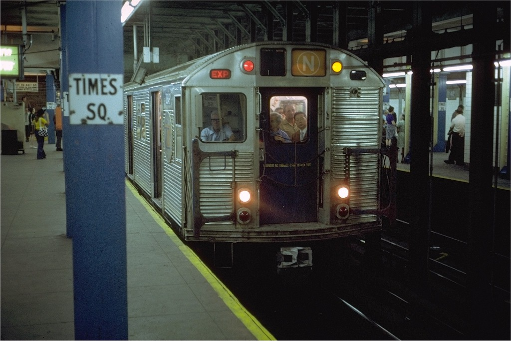 (194k, 1024x683)<br><b>Country:</b> United States<br><b>City:</b> New York<br><b>System:</b> New York City Transit<br><b>Line:</b> BMT Broadway Line<br><b>Location:</b> Times Square/42nd Street <br><b>Route:</b> N<br><b>Car:</b> R-32 (Budd, 1964)  3849 <br><b>Photo by:</b> Steve Zabel<br><b>Collection of:</b> Joe Testagrose<br><b>Date:</b> 6/4/1972<br><b>Viewed (this week/total):</b> 3 / 6721