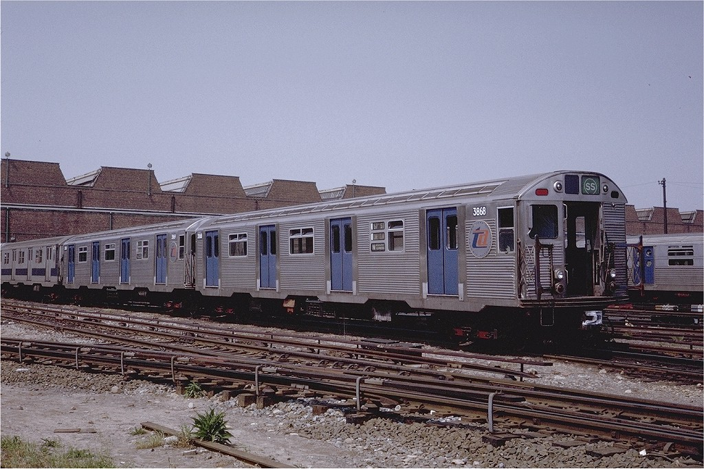 (248k, 1024x682)<br><b>Country:</b> United States<br><b>City:</b> New York<br><b>System:</b> New York City Transit<br><b>Location:</b> Coney Island Yard<br><b>Car:</b> R-32 (Budd, 1964)  3868 <br><b>Photo by:</b> Steve Zabel<br><b>Collection of:</b> Joe Testagrose<br><b>Date:</b> 6/7/1971<br><b>Viewed (this week/total):</b> 4 / 3076
