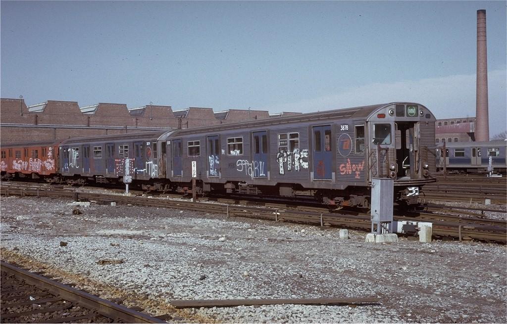 (231k, 1024x655)<br><b>Country:</b> United States<br><b>City:</b> New York<br><b>System:</b> New York City Transit<br><b>Location:</b> Coney Island Yard<br><b>Car:</b> R-32 (Budd, 1964)  3878 <br><b>Photo by:</b> Steve Zabel<br><b>Collection of:</b> Joe Testagrose<br><b>Date:</b> 3/9/1973<br><b>Viewed (this week/total):</b> 0 / 4497