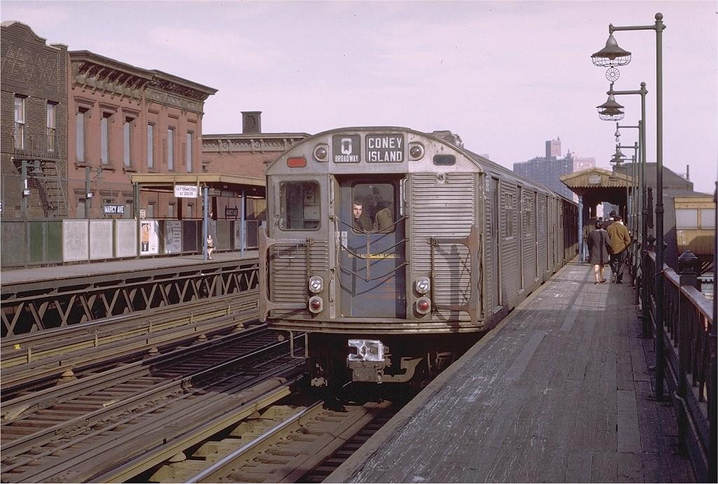 (243k, 1024x691)<br><b>Country:</b> United States<br><b>City:</b> New York<br><b>System:</b> New York City Transit<br><b>Line:</b> BMT Nassau Street/Jamaica Line<br><b>Location:</b> Marcy Avenue <br><b>Route:</b> QJ<br><b>Car:</b> R-32 (Budd, 1964)  3885 <br><b>Photo by:</b> Joe Testagrose<br><b>Date:</b> 4/9/1971<br><b>Viewed (this week/total):</b> 3 / 4057