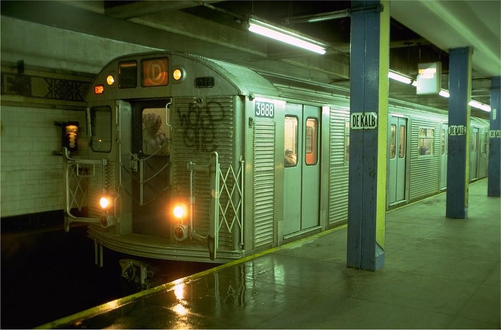 (186k, 1024x675)<br><b>Country:</b> United States<br><b>City:</b> New York<br><b>System:</b> New York City Transit<br><b>Location:</b> DeKalb Avenue<br><b>Route:</b> D<br><b>Car:</b> R-32 (Budd, 1964)  3888 <br><b>Photo by:</b> Doug Grotjahn<br><b>Collection of:</b> Joe Testagrose<br><b>Date:</b> 12/26/1976<br><b>Viewed (this week/total):</b> 4 / 7309