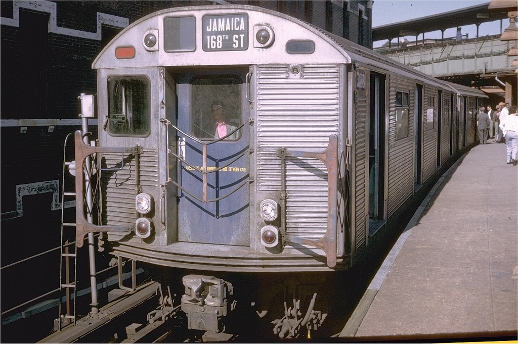 (223k, 1024x681)<br><b>Country:</b> United States<br><b>City:</b> New York<br><b>System:</b> New York City Transit<br><b>Line:</b> BMT Nassau Street/Jamaica Line<br><b>Location:</b> Myrtle Avenue <br><b>Route:</b> QJ<br><b>Car:</b> R-32 (Budd, 1964)  3888 <br><b>Photo by:</b> Doug Grotjahn<br><b>Collection of:</b> Joe Testagrose<br><b>Date:</b> 9/22/1969<br><b>Viewed (this week/total):</b> 0 / 3422