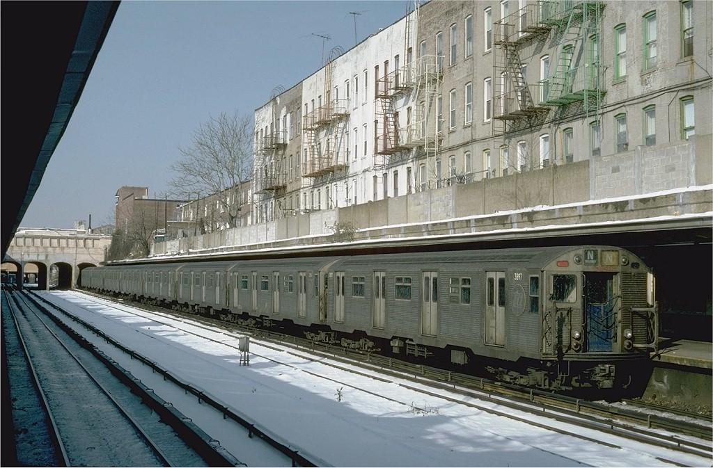 (224k, 1024x673)<br><b>Country:</b> United States<br><b>City:</b> New York<br><b>System:</b> New York City Transit<br><b>Line:</b> BMT Sea Beach Line<br><b>Location:</b> 18th Avenue <br><b>Route:</b> N<br><b>Car:</b> R-32 (Budd, 1964)  3897 <br><b>Photo by:</b> Steve Zabel<br><b>Collection of:</b> Joe Testagrose<br><b>Date:</b> 1/20/1982<br><b>Viewed (this week/total):</b> 0 / 4706