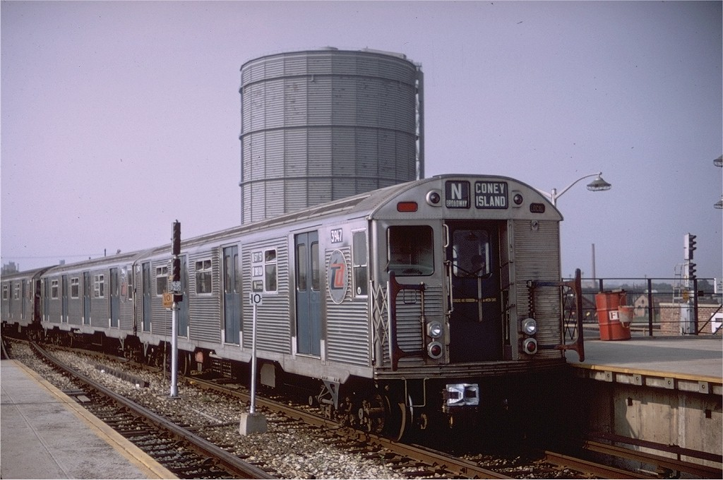 (184k, 1024x680)<br><b>Country:</b> United States<br><b>City:</b> New York<br><b>System:</b> New York City Transit<br><b>Location:</b> Coney Island/Stillwell Avenue<br><b>Route:</b> N<br><b>Car:</b> R-32 (Budd, 1964)  3947 <br><b>Photo by:</b> Doug Grotjahn<br><b>Collection of:</b> Joe Testagrose<br><b>Date:</b> 8/7/1967<br><b>Viewed (this week/total):</b> 3 / 4384