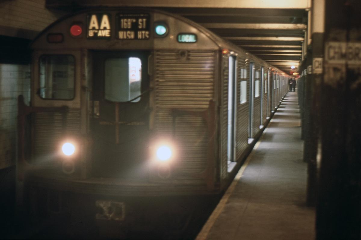 (278k, 1024x683)<br><b>Country:</b> United States<br><b>City:</b> New York<br><b>System:</b> New York City Transit<br><b>Line:</b> IND 8th Avenue Line<br><b>Location:</b> Chambers Street/World Trade Center <br><b>Route:</b> AA<br><b>Car:</b> R-32 (Budd, 1964)   <br><b>Collection of:</b> David Pirmann<br><b>Date:</b> 11/25/1967<br><b>Viewed (this week/total):</b> 3 / 7036