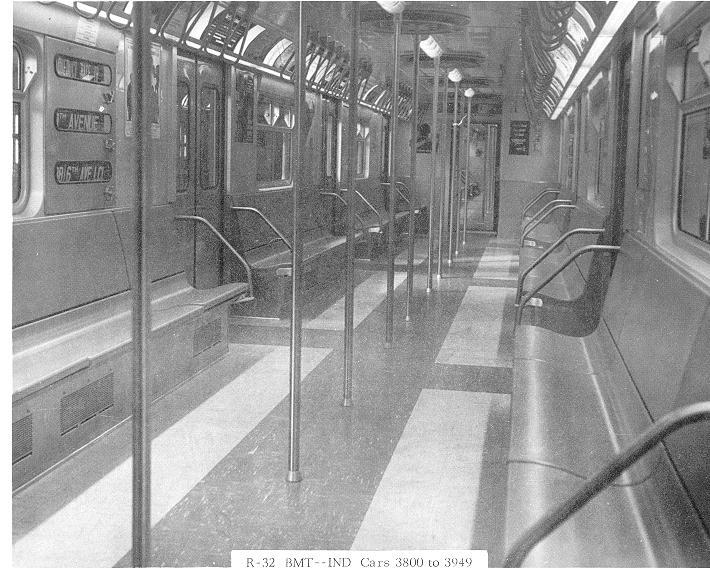 (85k, 710x575)<br><b>Country:</b> United States<br><b>City:</b> New York<br><b>System:</b> New York City Transit<br><b>Car:</b> R-32 (Budd, 1964)  Interior <br><b>Collection of:</b> Sanford Gardner<br><b>Notes:</b> Modified interior on cars 3800-3949<br><b>Viewed (this week/total):</b> 7 / 15660