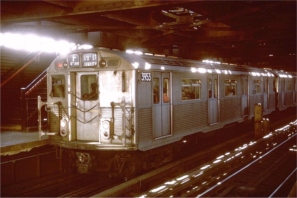 (272k, 1024x682)<br><b>Country:</b> United States<br><b>City:</b> New York<br><b>System:</b> New York City Transit<br><b>Line:</b> BMT Culver Line<br><b>Location:</b> West 8th Street <br><b>Route:</b> F<br><b>Car:</b> R-38 (St. Louis, 1966-1967)  3953 <br><b>Photo by:</b> Joe Testagrose<br><b>Date:</b> 3/23/1969<br><b>Viewed (this week/total):</b> 2 / 5211