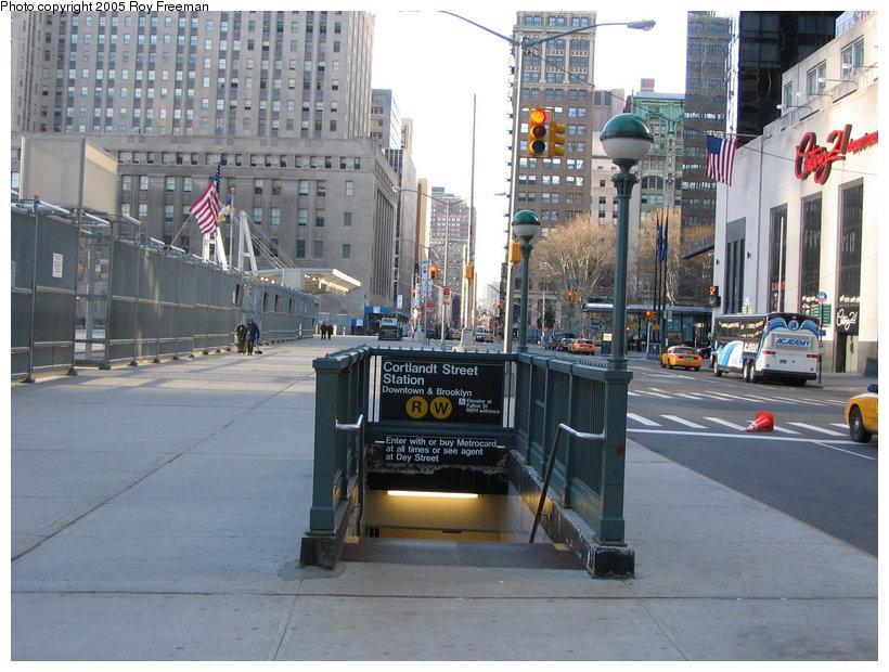 (133k, 820x620)<br><b>Country:</b> United States<br><b>City:</b> New York<br><b>System:</b> New York City Transit<br><b>Line:</b> BMT Broadway Line<br><b>Location:</b> Cortlandt Street-World Trade Center <br><b>Photo by:</b> Roy Freeman<br><b>Date:</b> 4/16/2005<br><b>Notes:</b> New station entrance west side of Church St for southbound trains built post 9/11.<br><b>Viewed (this week/total):</b> 0 / 7485