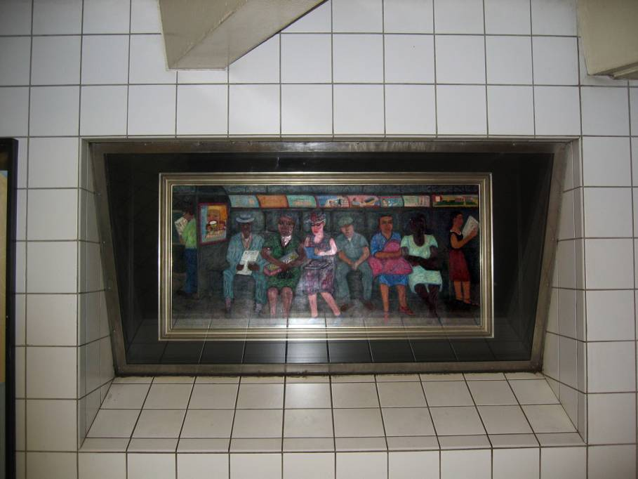(63k, 909x682)<br><b>Country:</b> United States<br><b>City:</b> New York<br><b>System:</b> New York City Transit<br><b>Line:</b> IND Queens Boulevard Line<br><b>Location:</b> 5th Avenue/53rd Street <br><b>Photo by:</b> Robbie Rosenfeld<br><b>Date:</b> 7/15/2005<br><b>Artwork:</b> <i>Subway Riders</i>, Ralph Fasanella (1950).<br><b>Viewed (this week/total):</b> 2 / 4716