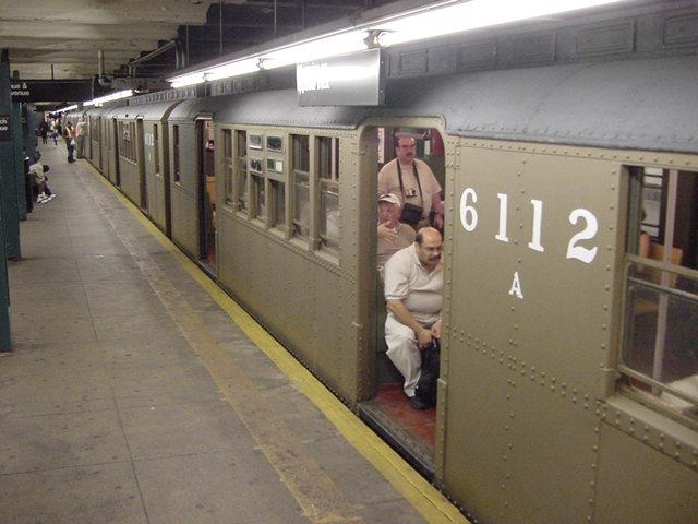 (61k, 640x480)<br><b>Country:</b> United States<br><b>City:</b> New York<br><b>System:</b> New York City Transit<br><b>Line:</b> IND Crosstown Line<br><b>Location:</b> Church Avenue <br><b>Route:</b> Fan Trip<br><b>Car:</b> BMT D-Type Triplex 6112 <br><b>Photo by:</b> Salaam Allah<br><b>Date:</b> 9/22/2002<br><b>Viewed (this week/total):</b> 4 / 3693