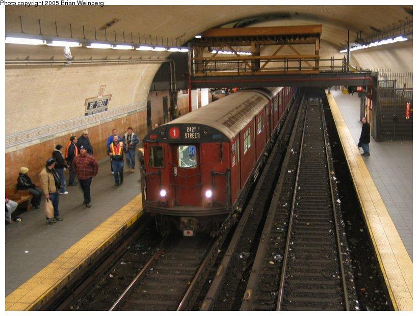 (112k, 820x620)<br><b>Country:</b> United States<br><b>City:</b> New York<br><b>System:</b> New York City Transit<br><b>Line:</b> IRT West Side Line<br><b>Location:</b> 181st Street <br><b>Route:</b> Fan Trip<br><b>Car:</b> R-33 World's Fair (St. Louis, 1963-64) 9310 <br><b>Photo by:</b> Brian Weinberg<br><b>Date:</b> 12/21/2003<br><b>Viewed (this week/total):</b> 0 / 5275