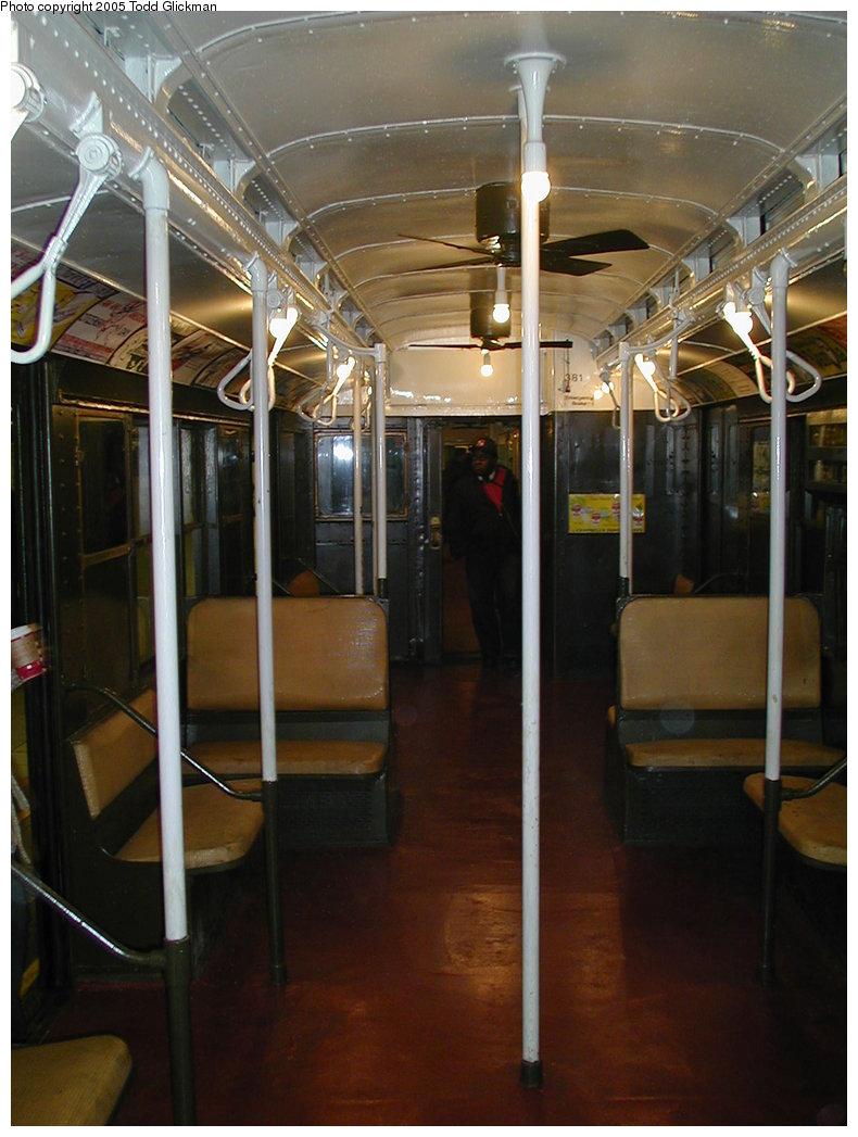 (159k, 790x1047)<br><b>Country:</b> United States<br><b>City:</b> New York<br><b>System:</b> New York City Transit<br><b>Route:</b> Fan Trip<br><b>Car:</b> R-1 (American Car & Foundry, 1930-1931) 381 <br><b>Photo by:</b> Todd Glickman<br><b>Date:</b> 11/27/2004<br><b>Notes:</b> Train in regular passenger service for the holidays, not techically a fan trip.<br><b>Viewed (this week/total):</b> 0 / 1692