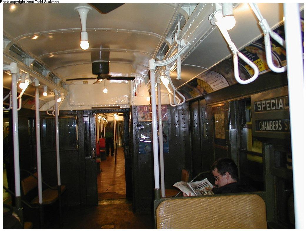 (169k, 1044x788)<br><b>Country:</b> United States<br><b>City:</b> New York<br><b>System:</b> New York City Transit<br><b>Route:</b> Fan Trip<br><b>Car:</b> R-1 (American Car & Foundry, 1930-1931) 100 <br><b>Photo by:</b> Todd Glickman<br><b>Date:</b> 11/27/2004<br><b>Notes:</b> Train in regular passenger service for the holidays, not techically a fan trip.<br><b>Viewed (this week/total):</b> 0 / 2164