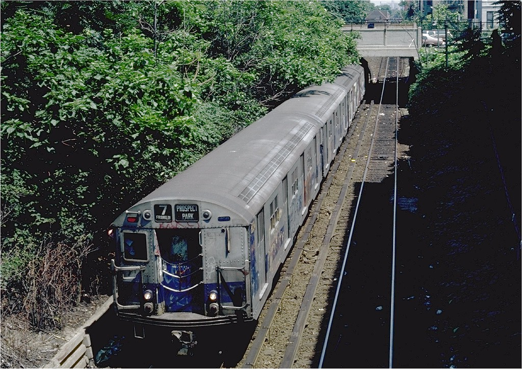 (313k, 1024x724)<br><b>Country:</b> United States<br><b>City:</b> New York<br><b>System:</b> New York City Transit<br><b>Line:</b> BMT Franklin<br><b>Location:</b> Botanic Garden <br><b>Route:</b> Franklin Shuttle<br><b>Car:</b> R-27 (St. Louis, 1960)  8034 <br><b>Photo by:</b> Steve Zabel<br><b>Collection of:</b> Joe Testagrose<br><b>Date:</b> 7/18/1981<br><b>Viewed (this week/total):</b> 2 / 4181