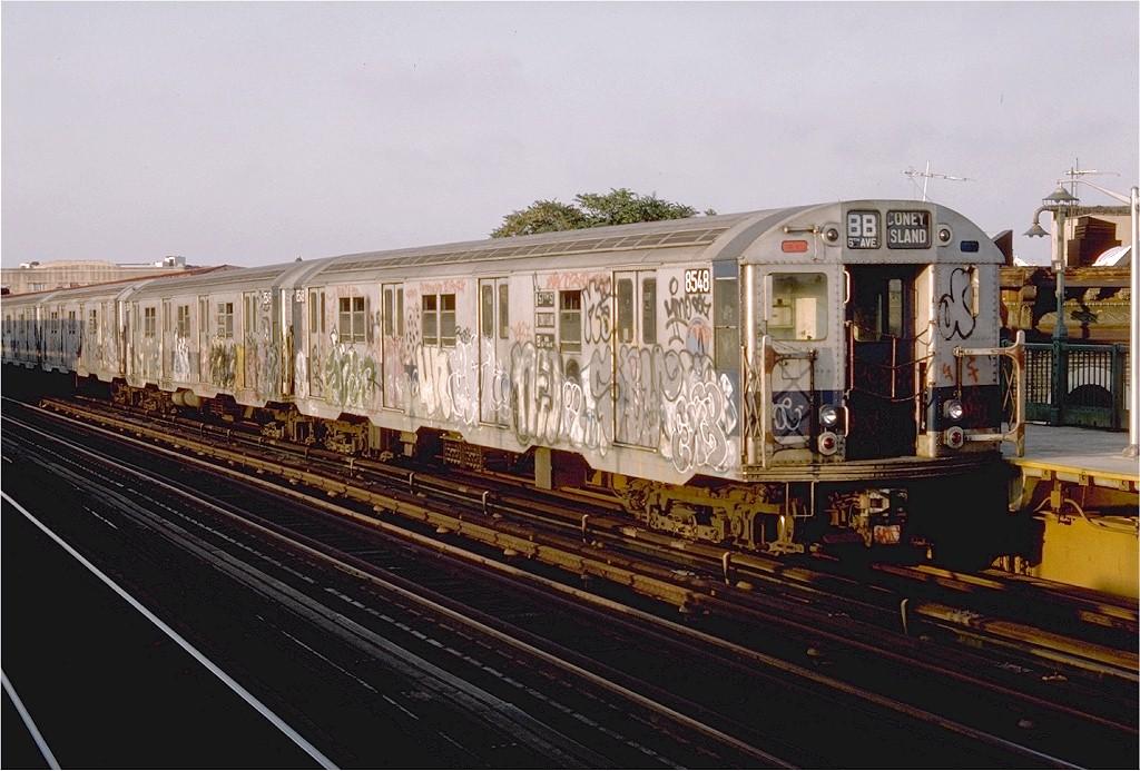 (203k, 1024x693)<br><b>Country:</b> United States<br><b>City:</b> New York<br><b>System:</b> New York City Transit<br><b>Line:</b> BMT West End Line<br><b>Location:</b> 55th Street <br><b>Route:</b> B<br><b>Car:</b> R-30 (St. Louis, 1961) 8548 <br><b>Photo by:</b> Doug Grotjahn<br><b>Collection of:</b> Joe Testagrose<br><b>Date:</b> 9/9/1976<br><b>Viewed (this week/total):</b> 3 / 3105