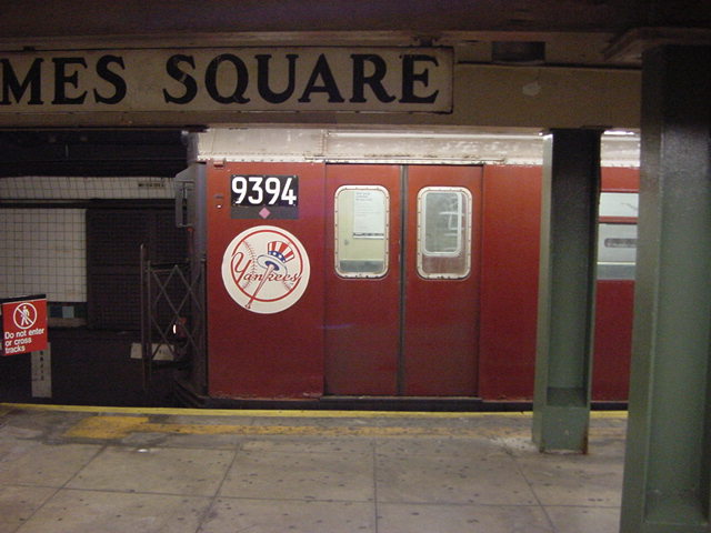 (60k, 640x480)<br><b>Country:</b> United States<br><b>City:</b> New York<br><b>System:</b> New York City Transit<br><b>Line:</b> IRT Flushing Line<br><b>Location:</b> Times Square <br><b>Route:</b> 7<br><b>Car:</b> R-36 World's Fair (St. Louis, 1963-64) 9394 <br><b>Photo by:</b> Salaam Allah<br><b>Date:</b> 9/17/2002<br><b>Viewed (this week/total):</b> 0 / 3585