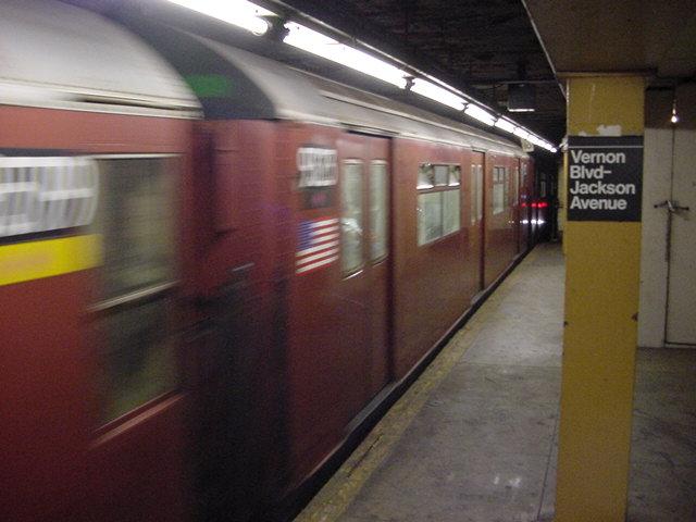 (60k, 640x480)<br><b>Country:</b> United States<br><b>City:</b> New York<br><b>System:</b> New York City Transit<br><b>Line:</b> IRT Flushing Line<br><b>Location:</b> Vernon-Jackson Avenues <br><b>Route:</b> 7<br><b>Car:</b> R-33 World's Fair (St. Louis, 1963-64) 9323 <br><b>Photo by:</b> Salaam Allah<br><b>Date:</b> 9/19/2002<br><b>Viewed (this week/total):</b> 4 / 4376