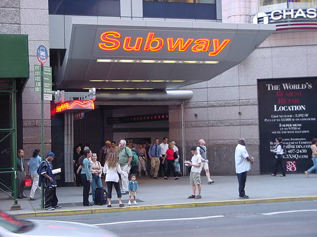 (59k, 640x480)<br><b>Country:</b> United States<br><b>City:</b> New York<br><b>System:</b> New York City Transit<br><b>Line:</b> IRT West Side Line<br><b>Location:</b> Times Square/42nd Street <br><b>Photo by:</b> Salaam Allah<br><b>Date:</b> 9/19/2002<br><b>Notes:</b> Station entrance, 42nd St. east of 7th Ave.<br><b>Viewed (this week/total):</b> 1 / 2609
