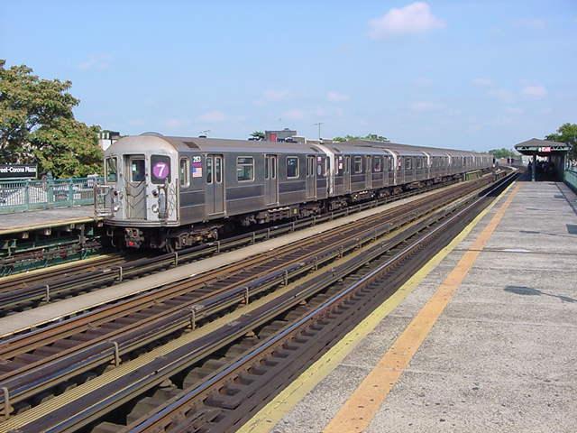 (60k, 640x480)<br><b>Country:</b> United States<br><b>City:</b> New York<br><b>System:</b> New York City Transit<br><b>Line:</b> IRT Flushing Line<br><b>Location:</b> 103rd Street/Corona Plaza <br><b>Route:</b> 7<br><b>Car:</b> R-62A (Bombardier, 1984-1987)  2053 <br><b>Photo by:</b> Salaam Allah<br><b>Date:</b> 9/24/2002<br><b>Viewed (this week/total):</b> 0 / 2596