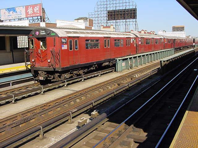 (60k, 640x480)<br><b>Country:</b> United States<br><b>City:</b> New York<br><b>System:</b> New York City Transit<br><b>Line:</b> IRT Flushing Line<br><b>Location:</b> 33rd Street/Rawson Street <br><b>Route:</b> 7<br><b>Car:</b> R-36 World's Fair (St. Louis, 1963-64) 9447 <br><b>Photo by:</b> Salaam Allah<br><b>Date:</b> 9/18/2002<br><b>Viewed (this week/total):</b> 6 / 2001