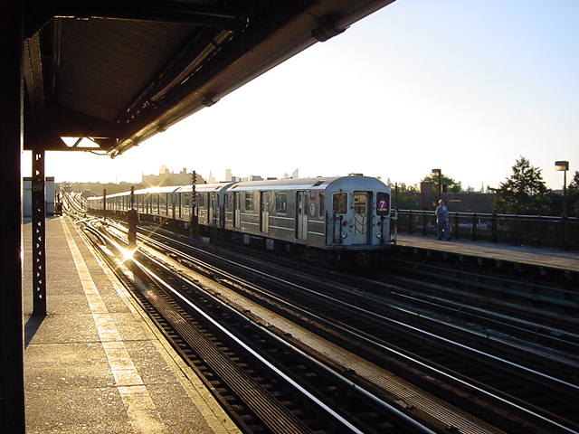 (61k, 640x480)<br><b>Country:</b> United States<br><b>City:</b> New York<br><b>System:</b> New York City Transit<br><b>Line:</b> IRT Flushing Line<br><b>Location:</b> 69th Street/Fisk Avenue <br><b>Route:</b> 7<br><b>Car:</b> R-62A (Bombardier, 1984-1987)   <br><b>Photo by:</b> Salaam Allah<br><b>Date:</b> 9/18/2002<br><b>Viewed (this week/total):</b> 0 / 2271