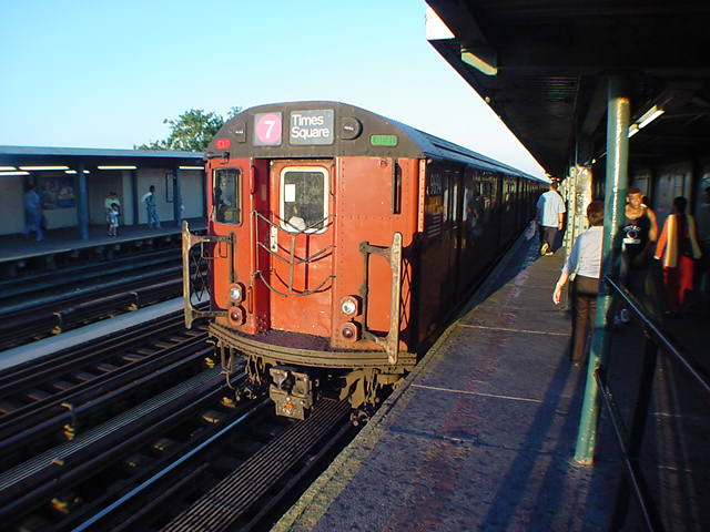 (59k, 640x480)<br><b>Country:</b> United States<br><b>City:</b> New York<br><b>System:</b> New York City Transit<br><b>Line:</b> IRT Flushing Line<br><b>Location:</b> 74th Street/Broadway <br><b>Route:</b> 7<br><b>Car:</b> R-36 World's Fair (St. Louis, 1963-64) 9694 <br><b>Photo by:</b> Salaam Allah<br><b>Date:</b> 9/18/2002<br><b>Viewed (this week/total):</b> 0 / 2185