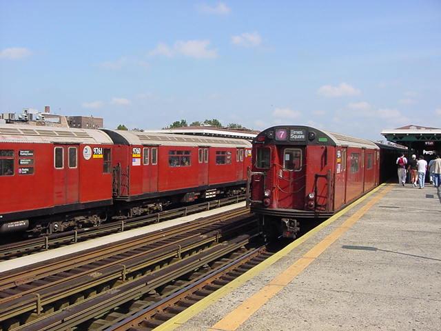 (59k, 640x480)<br><b>Country:</b> United States<br><b>City:</b> New York<br><b>System:</b> New York City Transit<br><b>Line:</b> IRT Flushing Line<br><b>Location:</b> 82nd Street/Jackson Heights <br><b>Route:</b> 7<br><b>Car:</b> R-36 World's Fair (St. Louis, 1963-64) 9760 <br><b>Photo by:</b> Salaam Allah<br><b>Date:</b> 9/24/2002<br><b>Viewed (this week/total):</b> 7 / 3023