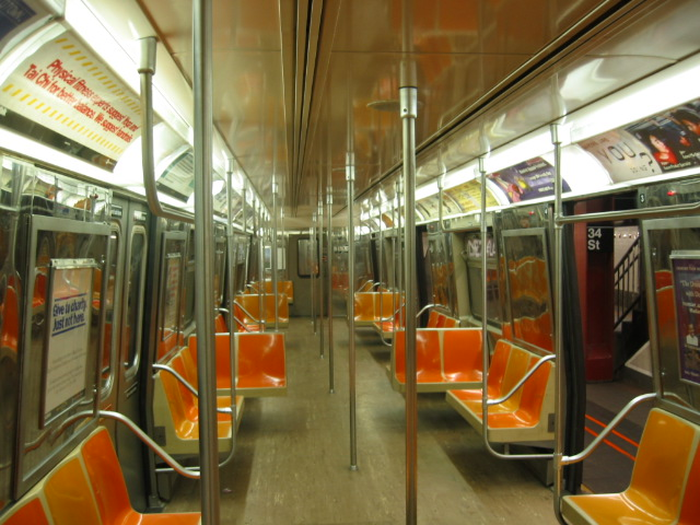 (122k, 640x480)<br><b>Country:</b> United States<br><b>City:</b> New York<br><b>System:</b> New York City Transit<br><b>Car:</b> R-68 (Westinghouse-Amrail, 1986-1988)  Interior <br><b>Photo by:</b> Oren H.<br><b>Notes:</b> Interior with old flooring.<br><b>Viewed (this week/total):</b> 0 / 3113