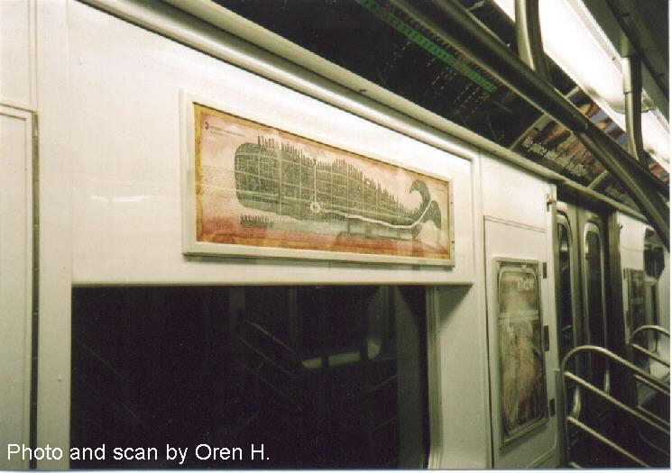 (57k, 745x525)<br><b>Country:</b> United States<br><b>City:</b> New York<br><b>System:</b> New York City Transit<br><b>Photo by:</b> Oren H.<br><b>Artwork:</b> <i>Subway Whale</i>, Peter Sis (2001).<br><b>Notes:</b> Subway art card placed in the R142/R143 fleet of subway cars.<br><b>Viewed (this week/total):</b> 1 / 4730