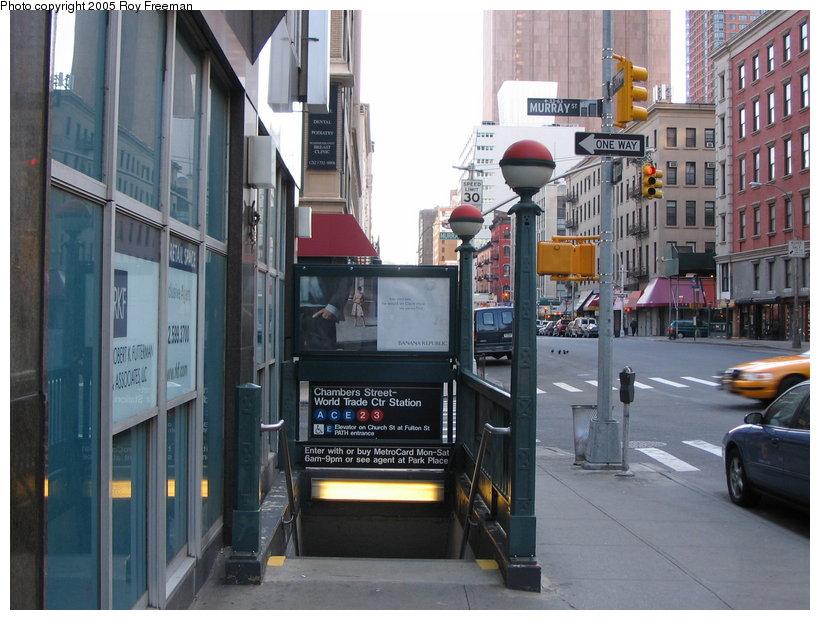 (126k, 820x620)<br><b>Country:</b> United States<br><b>City:</b> New York<br><b>System:</b> New York City Transit<br><b>Line:</b> IND 8th Avenue Line<br><b>Location:</b> Chambers Street/World Trade Center <br><b>Photo by:</b> Roy Freeman<br><b>Date:</b> 4/16/2005<br><b>Notes:</b> Station entrance at Church & Murray.<br><b>Viewed (this week/total):</b> 0 / 3226