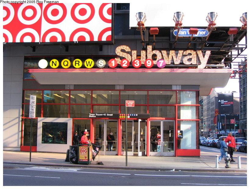 (149k, 820x620)<br><b>Country:</b> United States<br><b>City:</b> New York<br><b>System:</b> New York City Transit<br><b>Line:</b> IRT West Side Line<br><b>Location:</b> Times Square/42nd Street <br><b>Photo by:</b> Roy Freeman<br><b>Date:</b> 4/16/2005<br><b>Notes:</b> Station entrance at Broadway & 42nd.<br><b>Viewed (this week/total):</b> 2 / 2792