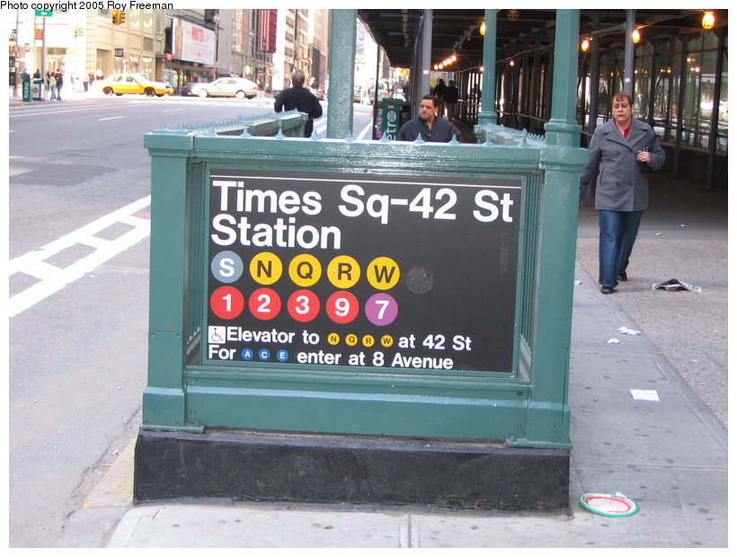 (132k, 820x620)<br><b>Country:</b> United States<br><b>City:</b> New York<br><b>System:</b> New York City Transit<br><b>Line:</b> IRT West Side Line<br><b>Location:</b> Times Square/42nd Street <br><b>Photo by:</b> Roy Freeman<br><b>Date:</b> 4/16/2005<br><b>Notes:</b> Station entrance at Broadway & 43rd.<br><b>Viewed (this week/total):</b> 6 / 2385