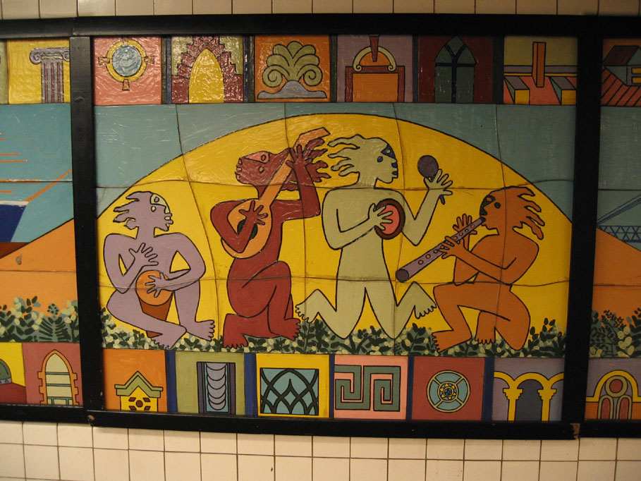 (180k, 909x682)<br><b>Country:</b> United States<br><b>City:</b> New York<br><b>System:</b> New York City Transit<br><b>Line:</b> IND 6th Avenue Line<br><b>Location:</b> East Broadway <br><b>Photo by:</b> Robbie Rosenfeld<br><b>Date:</b> 7/25/2005<br><b>Artwork:</b> <i>Displacing Details</i>, Noel Copeland (1992).<br><b>Viewed (this week/total):</b> 3 / 3751