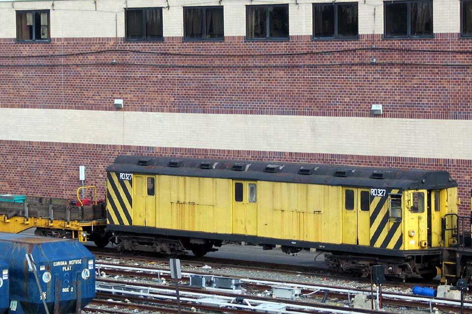 (150k, 960x640)<br><b>Country:</b> United States<br><b>City:</b> New York<br><b>System:</b> New York City Transit<br><b>Location:</b> Corona Yard<br><b>Car:</b> R-71 Rider Car (R-17/R-21/R-22 Rebuilds)  RD327 (ex-5875)<br><b>Photo by:</b> Michael Pompili<br><b>Date:</b> 4/29/2004<br><b>Viewed (this week/total):</b> 5 / 2604