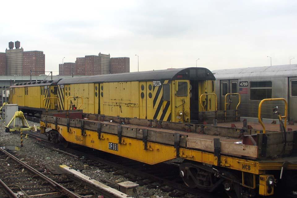 (90k, 960x640)<br><b>Country:</b> United States<br><b>City:</b> New York<br><b>System:</b> New York City Transit<br><b>Location:</b> Coney Island Yard<br><b>Car:</b> R-71 Rider Car (R-17/R-21/R-22 Rebuilds)  RD334 (ex-5984)<br><b>Photo by:</b> Michael Pompili<br><b>Date:</b> 4/3/2004<br><b>Notes:</b> With RD322<br><b>Viewed (this week/total):</b> 1 / 2743
