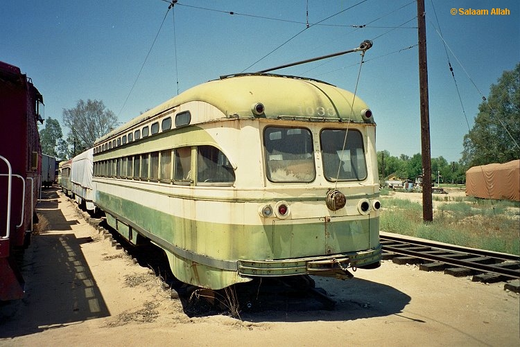 (264k, 750x501)<br><b>Country:</b> United States<br><b>City:</b> Perris, CA<br><b>System:</b> Orange Empire Railway Museum <br><b>Car:</b> SF MUNI PCC Baby Ten (St. Louis Car Co, 1951)  1033 <br><b>Photo by:</b> Salaam Allah<br><b>Date:</b> 1/18/1999<br><b>Viewed (this week/total):</b> 1 / 3772