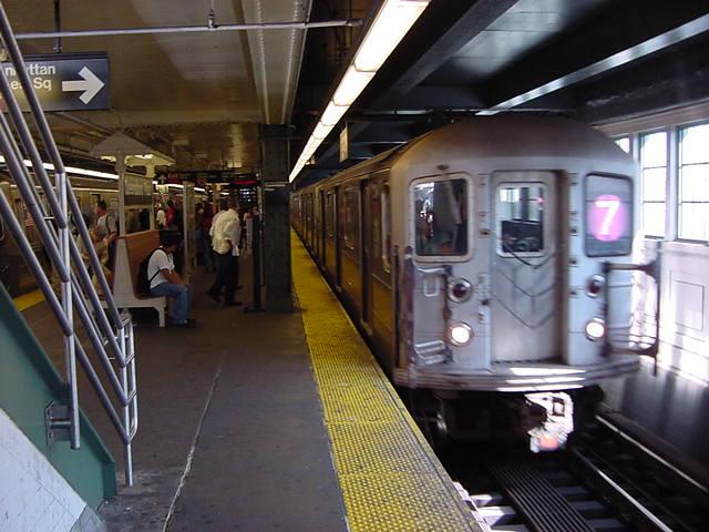 (59k, 640x480)<br><b>Country:</b> United States<br><b>City:</b> New York<br><b>System:</b> New York City Transit<br><b>Line:</b> IRT Flushing Line<br><b>Location:</b> Queensborough Plaza <br><b>Car:</b> R-62A (Bombardier, 1984-1987)   <br><b>Photo by:</b> Salaam Allah<br><b>Date:</b> 9/18/2002<br><b>Viewed (this week/total):</b> 0 / 2982