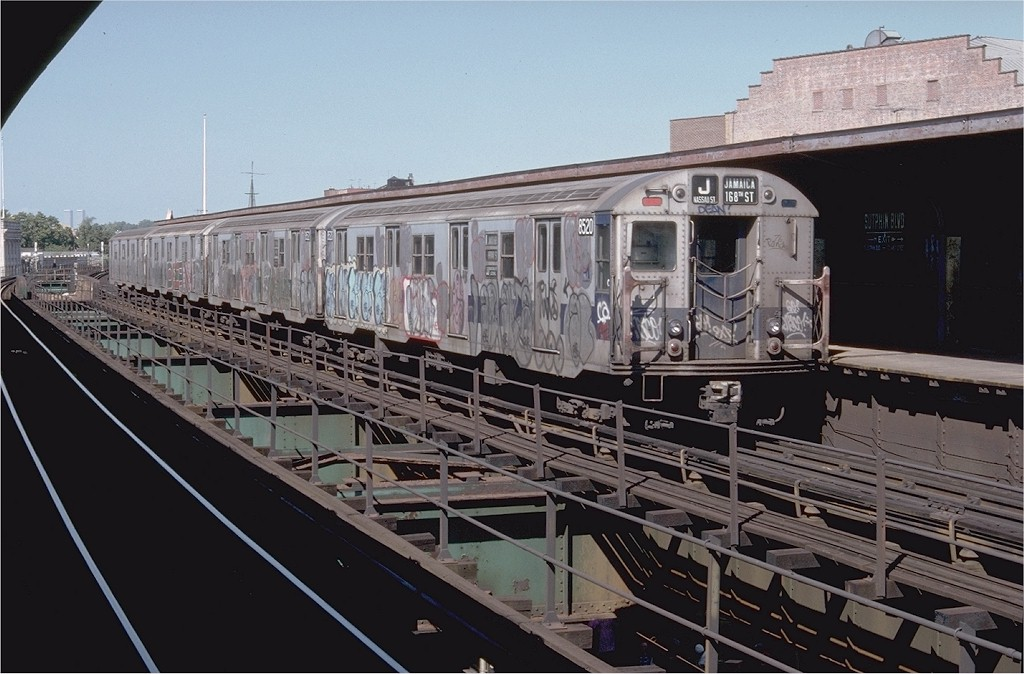 (185k, 1024x674)<br><b>Country:</b> United States<br><b>City:</b> New York<br><b>System:</b> New York City Transit<br><b>Line:</b> BMT Nassau Street/Jamaica Line<br><b>Location:</b> Sutphin Boulevard (Demolished) <br><b>Route:</b> J<br><b>Car:</b> R-30 (St. Louis, 1961) 8520 <br><b>Photo by:</b> Doug Grotjahn<br><b>Collection of:</b> Joe Testagrose<br><b>Date:</b> 9/9/1977<br><b>Viewed (this week/total):</b> 7 / 4386