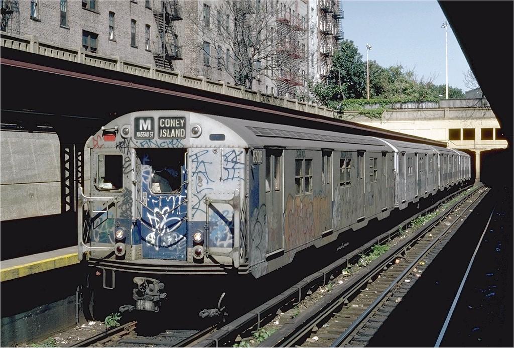 (260k, 1024x693)<br><b>Country:</b> United States<br><b>City:</b> New York<br><b>System:</b> New York City Transit<br><b>Line:</b> BMT Brighton Line<br><b>Location:</b> Prospect Park <br><b>Route:</b> M<br><b>Car:</b> R-30 (St. Louis, 1961) 8308 <br><b>Photo by:</b> Steve Zabel<br><b>Collection of:</b> Joe Testagrose<br><b>Date:</b> 9/9/1981<br><b>Viewed (this week/total):</b> 1 / 3729