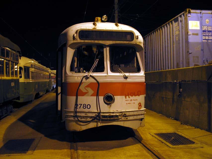 (80k, 853x640)<br><b>Country:</b> United States<br><b>City:</b> Philadelphia, PA<br><b>System:</b> SEPTA (or Predecessor)<br><b>Location:</b> Elmwood Depot <br><b>Car:</b> PTC/SEPTA Postwar All-electric PCC (St.Louis, 1947)  2780 <br><b>Photo by:</b> Michael Pompili<br><b>Date:</b> 2/14/2004<br><b>Viewed (this week/total):</b> 2 / 1994