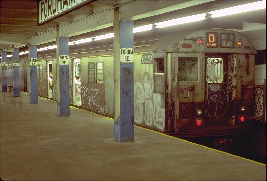 (184k, 1024x697)<br><b>Country:</b> United States<br><b>City:</b> New York<br><b>System:</b> New York City Transit<br><b>Line:</b> IND Concourse Line<br><b>Location:</b> Fordham Road <br><b>Route:</b> D<br><b>Car:</b> R-30 (St. Louis, 1961) 8432 <br><b>Photo by:</b> Doug Grotjahn<br><b>Collection of:</b> Joe Testagrose<br><b>Date:</b> 8/8/1980<br><b>Viewed (this week/total):</b> 8 / 5571