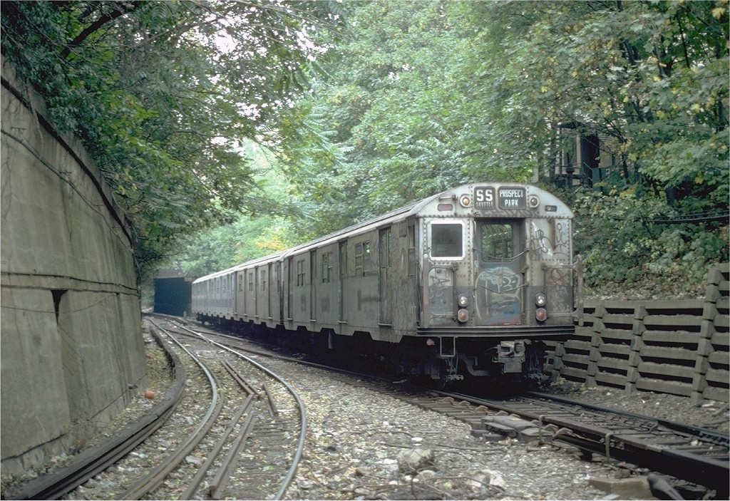 (284k, 1024x703)<br><b>Country:</b> United States<br><b>City:</b> New York<br><b>System:</b> New York City Transit<br><b>Line:</b> BMT Franklin<br><b>Location:</b> Empire Blvd. (Malbone St.) Tunnel Portal <br><b>Route:</b> Franklin Shuttle<br><b>Car:</b> R-30 (St. Louis, 1961) 8503 <br><b>Photo by:</b> Steve Zabel<br><b>Collection of:</b> Joe Testagrose<br><b>Date:</b> 8/28/1981<br><b>Viewed (this week/total):</b> 0 / 4997