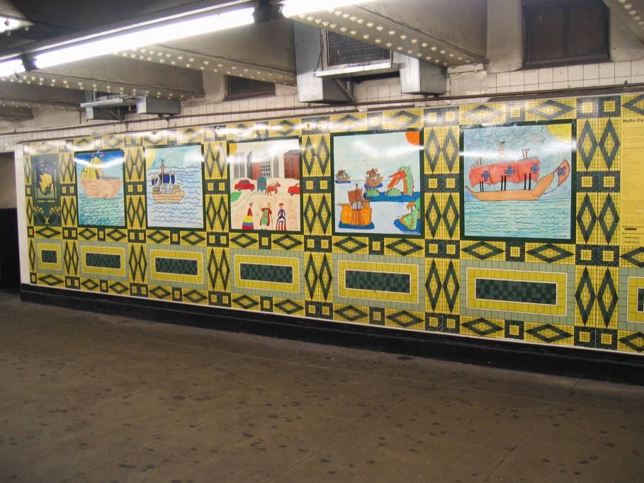(98k, 909x682)<br><b>Country:</b> United States<br><b>City:</b> New York<br><b>System:</b> New York City Transit<br><b>Line:</b> IND 8th Avenue Line<br><b>Location:</b> 59th Street/Columbus Circle <br><b>Photo by:</b> Robbie Rosenfeld<br><b>Date:</b> 7/31/2005<br><b>Artwork:</b> <i>Hello Columbus</i>,  NYC Artists & Public School Students (1992).<br><b>Viewed (this week/total):</b> 3 / 2795
